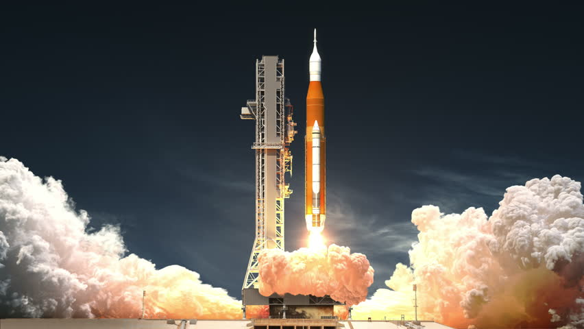Space Launch System Takes Off. Realistic 3D Animation. 4K. Ultra High Definition. 3840x2160.