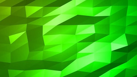 Loopable Abstract Green Low Poly 3D surface as CG background. Soft Polygonal Geometric Low Poly motion background of shifting Green polygons. 4K Fullhd seamless loop background render V72