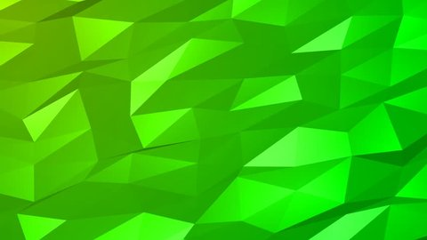 Loopable Abstract Green Low Poly 3D surface as CG background. Soft Polygonal Geometric Low Poly motion background of shifting Green polygons. 4K Fullhd seamless loop background render V118