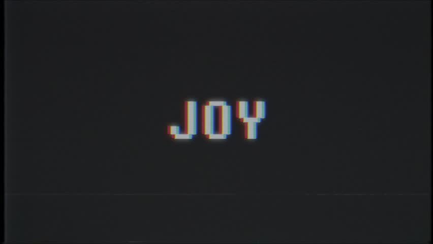 Retro videogame JOY word text computer tv glitch interference noise screen animation seamless loop New quality universal vintage motion dynamic animated background colorful joyful video | Shutterstock HD Video #1011083858