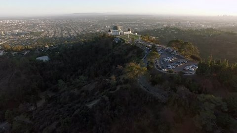 Los Angeles: Griffith Park & Observatory at Sunset (drone/aerial)