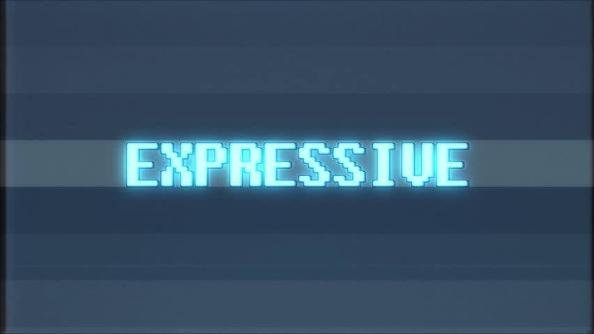 Retro videogame EXPRESSIVE word text computer tv glitch interference noise screen animation seamless loop New quality universal vintage motion dynamic animated background colorful joyful video  | Shutterstock HD Video #1011145718