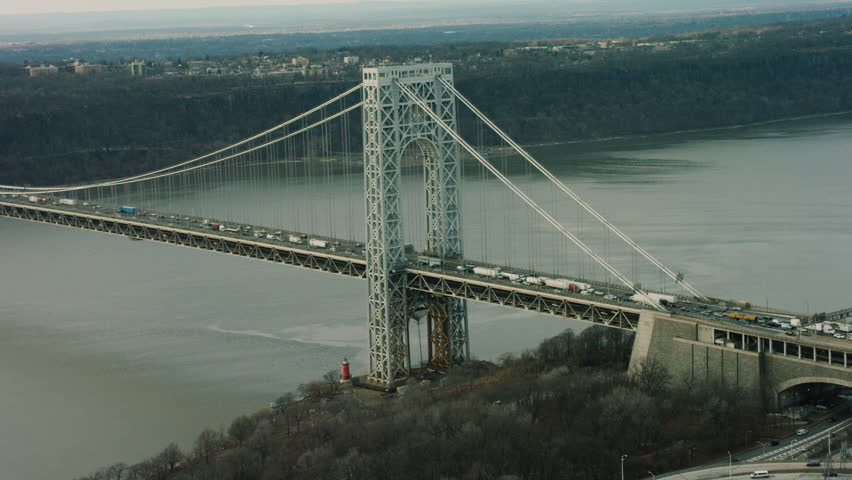 Aerial of George Washington Bridge, New York City. Shot with a RED camera. 4k footage.