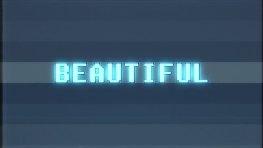 Retro videogame BEAUTIFUL word text computer tv glitch interference noise screen animation seamless loop New quality universal vintage motion dynamic animated background colorful joyful video m | Shutterstock HD Video #1011191138