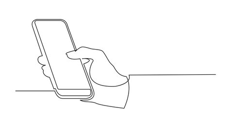 Self drawing animation of continuous line drawing of hand with mobile phone