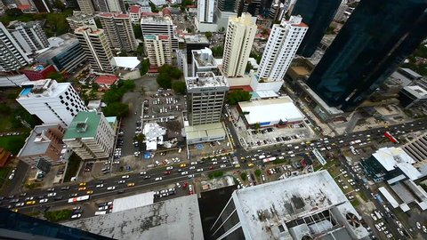Panama City, Panama, Central America - 10 January 2018. Flying vertical shot looking down over downtown at Panama city, Central America