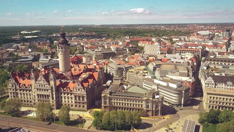 LEIPZIG, GERMANY - MAY 1, 2018. Aerial view of the New Town Hall and townscape