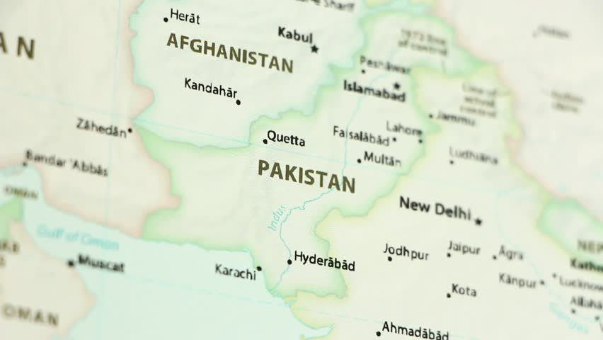 Pakistan on a political map of the world. Video defocuses showing and hiding the map.