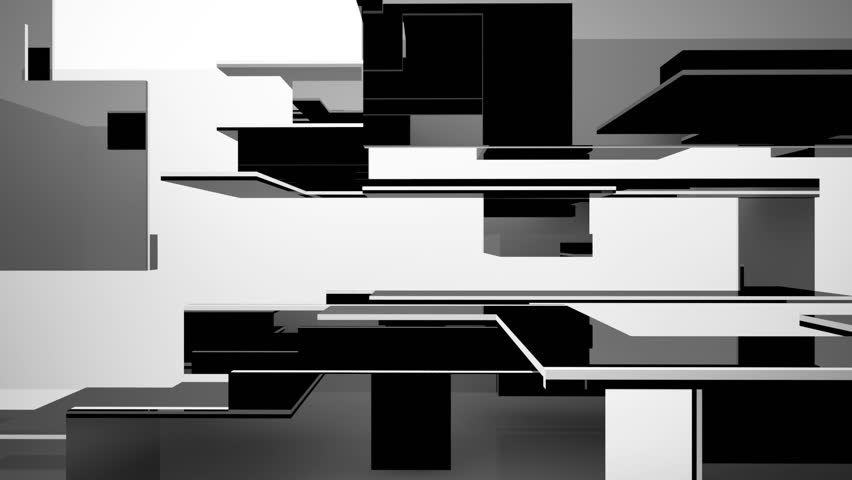 Abstract dynamic interior with black objects and white room . 3D animation and rendering   Shutterstock HD Video #1011267248