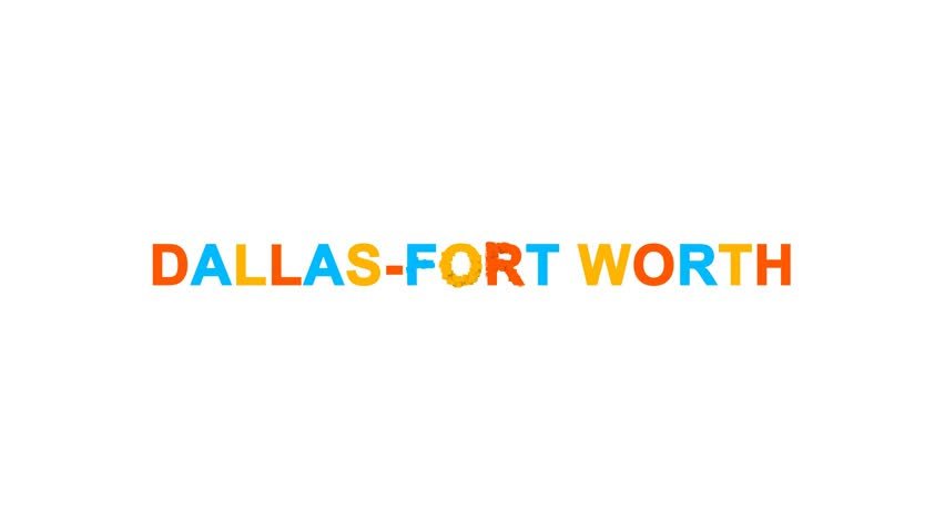 Big city DALLAS-FORT WORTH from letters of different colors appears behind small squares. Then disappears. Alpha channel Premultiplied - Matted with color white