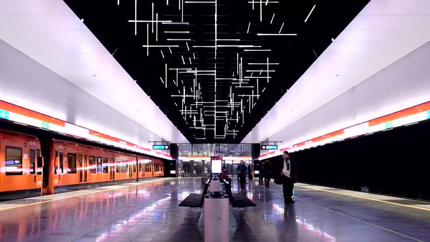 Helsinki, Finland - December 19 2017; Helsinki metro, Keilaniemi station