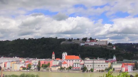 """4K footage of Passau, Germany, from the South, with St. Stephens's Cathedral in the middle. Passau is also known as the """"City of Three Rivers,"""" because the Danube is joined here by the Inn and the Ilz"""