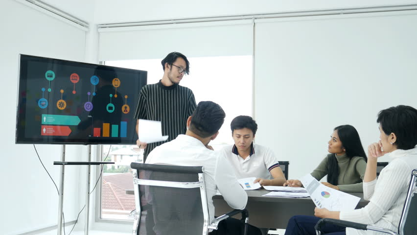 Asian business present business plan with angry emotion. people working concept. | Shutterstock HD Video #1011305438