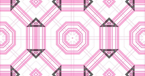 Seamless loop sequence of motion background video. Pink and gray tartan stripes style graphic pattern in kaleidoscopic motion effects.