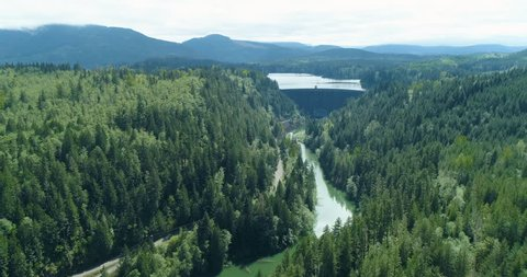 Nisqually River Alder Dam in Washington State Cascade Mountains
