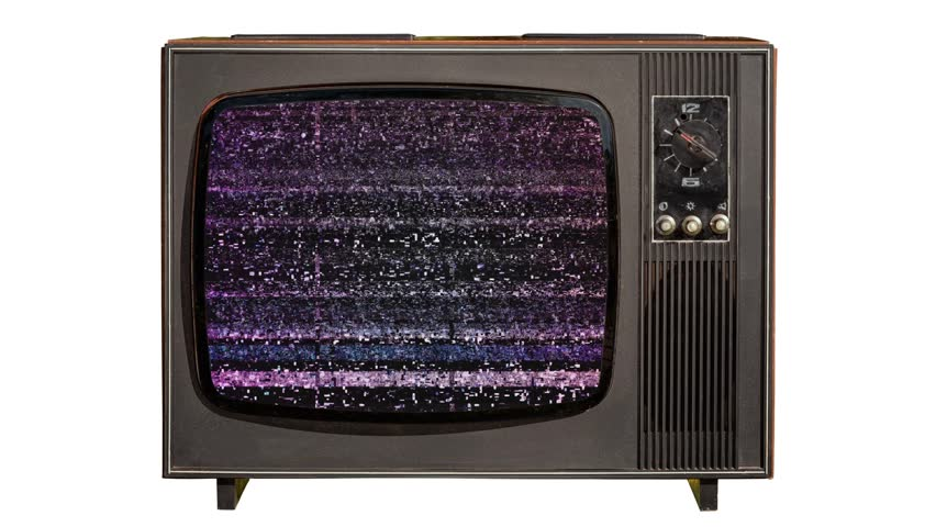 Static noise and green chroma key at the end on a vintage old TV set isolated on white background.  | Shutterstock HD Video #1011313298