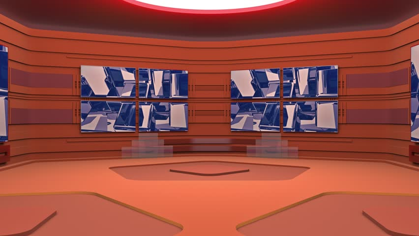 The virtual broadcasting studio with looping abstract footage video and green screen area. Camera movement is included. UHD - 4K - 3D Rendering | Shutterstock HD Video #1011327338