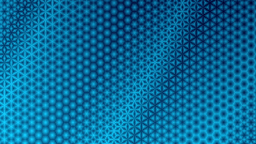 Repeating blue starry pattern design.  Colorful kaleidoscopic motion graphic background. Animation, abstract illustration, seamless loop