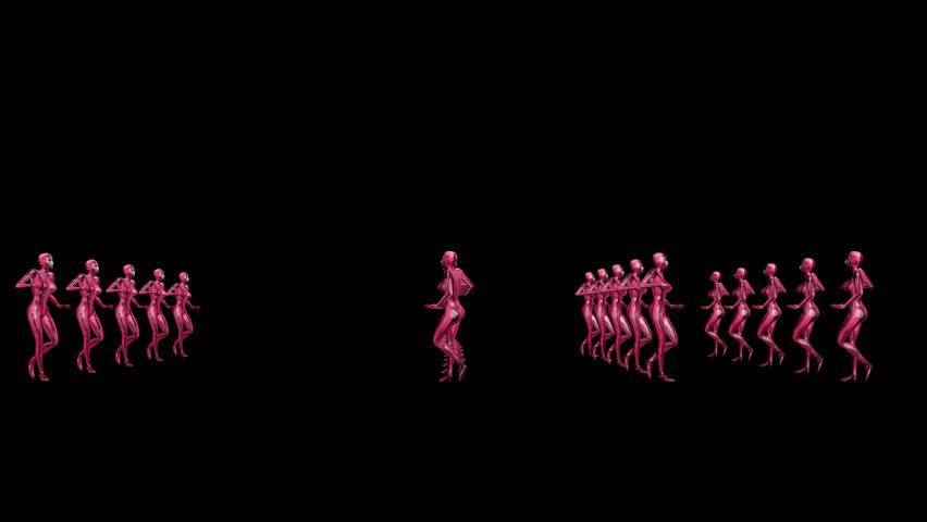 Dancing Robo Women. Alpha Channel Included. Looped.