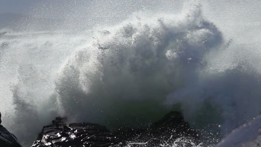 Extreme Wave crushing coast , Large Ocean Beautiful Wave, Awesome power of waves breaking over dangerous rocks  #1011366818