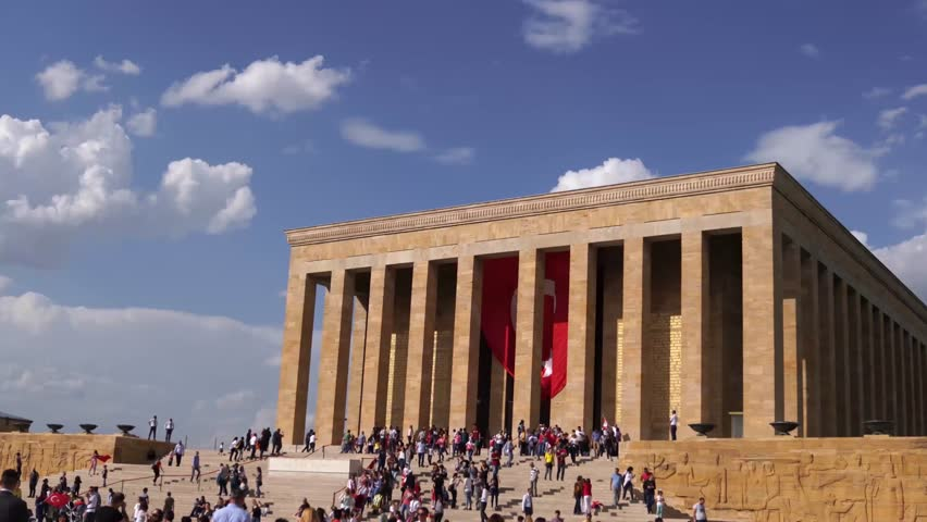 Ankara/Turkey - May 19 2018: People celebrate May 19 Commemoration of Ataturk, Youth and Sports Day at Anitkabir, Mustafa Kemal Ataturks mausoleum in slow motion