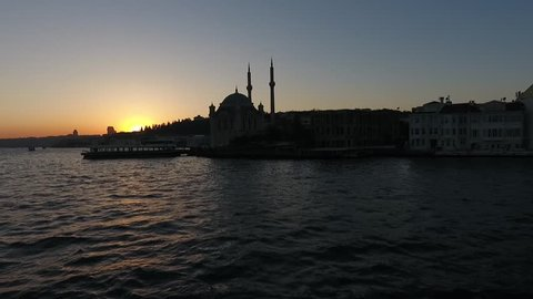Turkey, Istanbul Ortakoy Mosque Drone Sunset