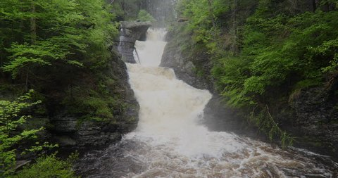 Raymondskill Falls - Heavy water flow during the rainy season in spring.   Raymondskill Waterfalls is located in the Delaware Water Gap National Recreation Area (DWG). It is also  Pennsylvania's large