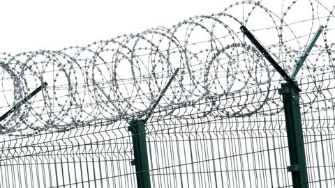 Security fence with a barbed wire. Fence with a barbed wire.