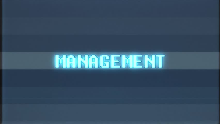 Retro videogame MANAGEMENT text with computer/tv glitch effect | Shutterstock HD Video #1011427118