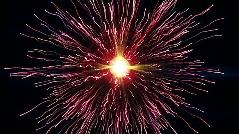 Particle collision and explosion. Bright pink particles with streams collide and create explosion shockwave with trails. Spherical multicolored explosion with flares isolated on black background. 4K