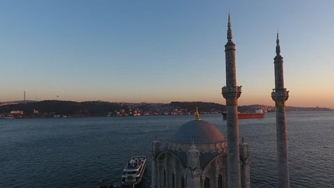Istanbul Turkey Ortakoy Mosque City and Mosque Air View Historical Old Minaret, Marmara Sea Sunset