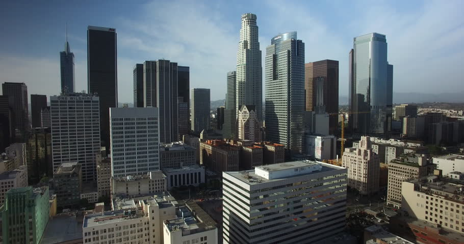 Aerial Drone of Downtown Los Angeles Skyline 4K | Shutterstock HD Video #1011482888