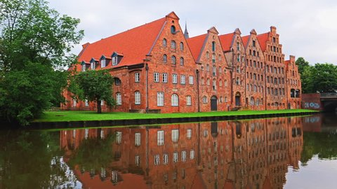 Holstentor of city Lubeck, northern Germany, River Trave.