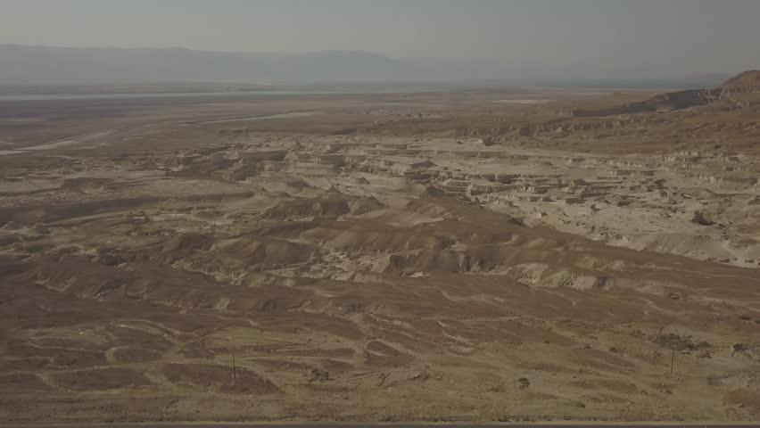 Dead sea desert 4k aerial view ungraded flat | Shutterstock HD Video #1011483158