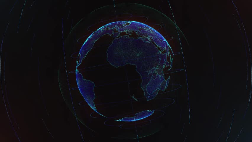 4K 3d rendering abstract globe with particles and plexus structure. Digital technology planet with continent forming. Glows and particles. | Shutterstock HD Video #1011484958