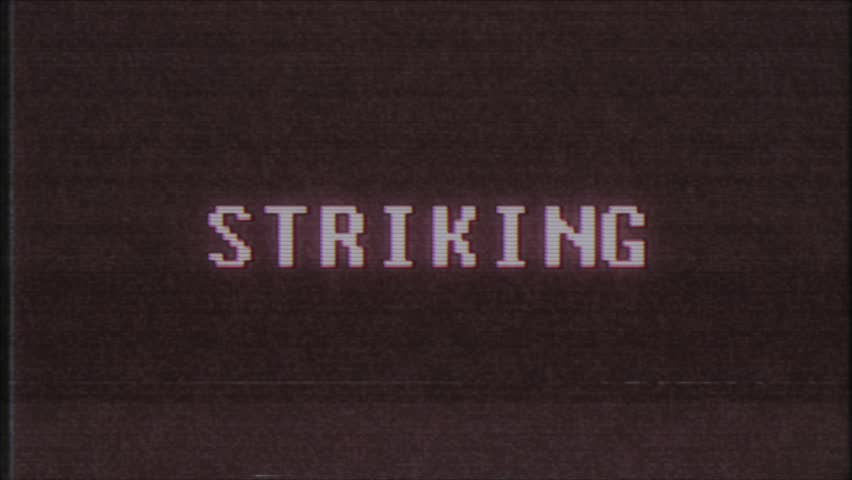 Retro videogame STRIKING word text computer tv glitch interference noise screen animation seamless loop New quality universal vintage motion dynamic animated background colorful joyful video m   Shutterstock HD Video #1011505418