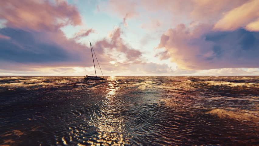 Sunset ocean sea yacht, boat 3d animation | Shutterstock HD Video #1011508328