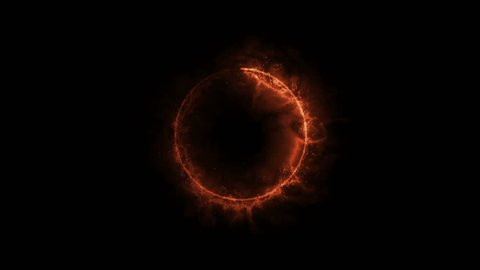 Solar Fire Ring with black&white Alpha ch.  Abstract sun ring of red orange fire particle circle with alpha background.