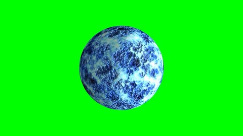 Planet in rotation on chroma key background