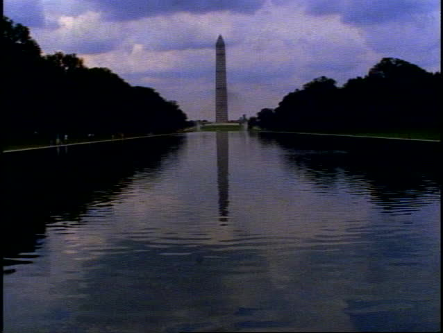 WASHINGTON, DC, 1999, The Washington Monument, pool in front, wide shot at dusk, silhouette