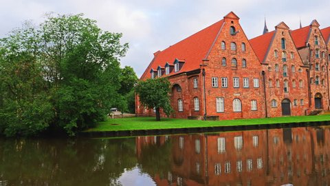 Museum Holstentor in Lubeck, northern Germany. Traditional brick gothic architecture.
