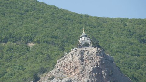 View of the beautiful Foros Orthodox Church, which stands on top among the rocky and green Crimean mountains