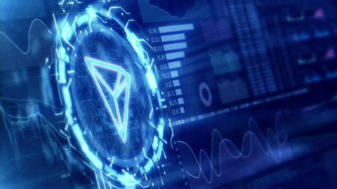 Virtual cryptocurrency Tron (TRX) trading and mining charts