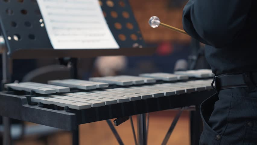 Musician playing xylophone in orchestra. Close up shot of musician playing xylophone. male is performing in orchestra.