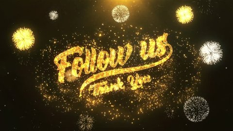 Follow us Greeting Card text Reveal from Golden Firework & Crackers on Glitter Shiny Magic Particles & Sparks Night star sky for Celebration, Wishes, Events, Message, holiday, festival