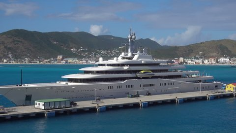 Philipsburg Sint Maarten Saint Martin January 25 2018 Roman Abramovich Luxury Yacht Moored At Philipsburg St Maarten Caribbean Roman Abramovich Is A Russian British Businessman