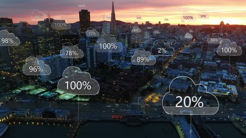 Aerial smart city. Network connections and cloud computing icons with percentages. Technology concept, data communication, artificial intelligence, internet of things. San Francisco skyline.