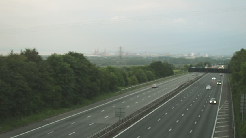 Out of focus slow traffic on M5 Motorway A, Captured in Clapton-in-Gordano, England