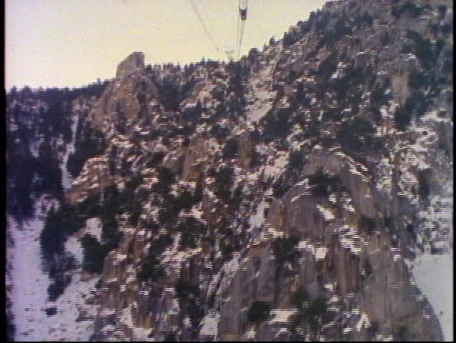 PALM SPRINGS, 1999, Palm Springs tram, up snow cover mountain, POV   Shutterstock HD Video #1011652958
