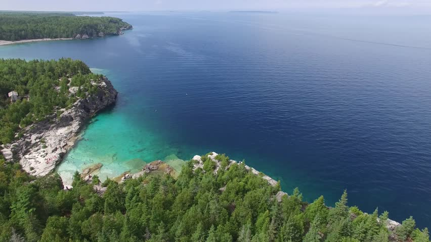 Drone filming vertically above tourist spot on Bruce Peninsula, Canada